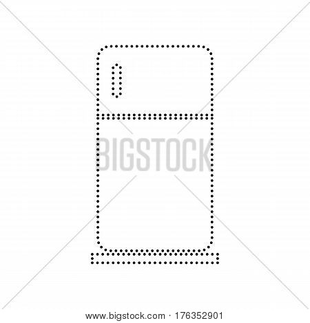 Refrigerator sign illustration. Vector. Black dotted icon on white background. Isolated.