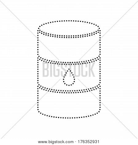 Oil barrel sign. Vector. Black dotted icon on white background. Isolated.