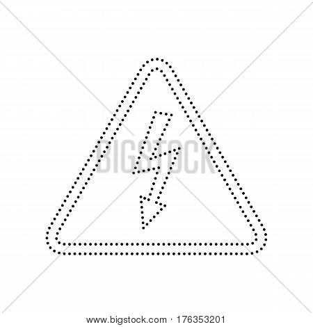 High voltage danger sign. Vector. Black dotted icon on white background. Isolated.