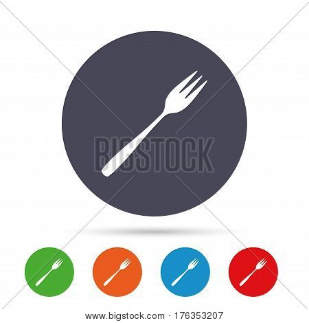 Eat sign icon. Cutlery symbol. Diagonal dessert trident fork. Round colourful buttons with flat icons. Vector