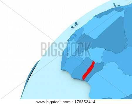 Togo In Red On Blue Globe