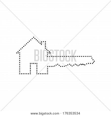 Home Key sign. Vector. Black dotted icon on white background. Isolated.