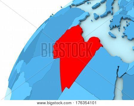 Libya In Red On Blue Globe