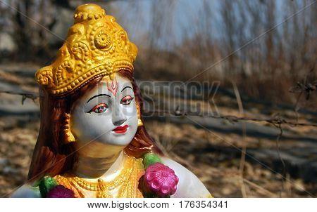 Closeup of Hindu God Sri Krishna Idol