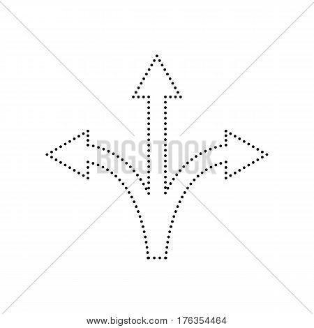 Three-way direction arrow sign. Vector. Black dotted icon on white background. Isolated.