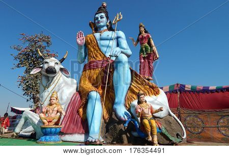 KEESRAGUTTA,HYDERABAD,INDIA-FEBRUARY 24:Hindu God lord Shiva idol, near the temple in Keesara ,during Mahasihvaratri fesival on February 24,2017 in Hyderabad,