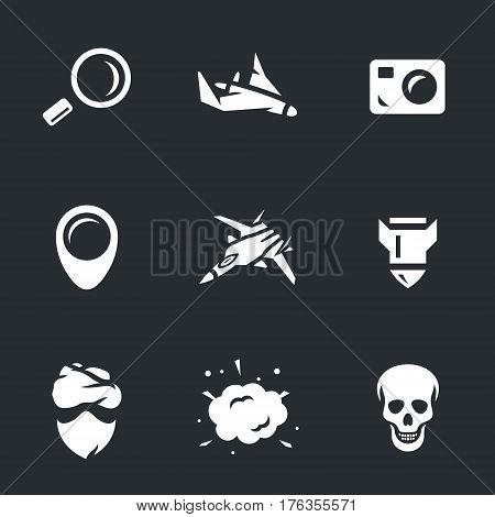 Loupe, drone, camera, pointer, fighter, bomb, criminal, explosion, skull.