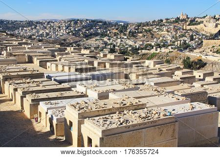 Dormition Abby in a panoramic view of Jerusalem from a cemetery on the Mount of Olives beside the Kidron Valley.