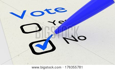 Voting paper with checkboxes and a green pen setting a tickmark at no 3D illustration