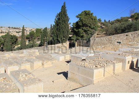Jewish Cemetery on the Mount of Olives in Israel.