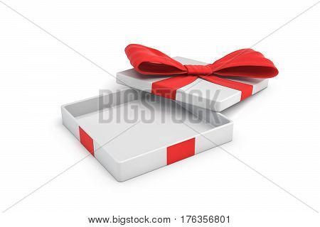 3d rendering of a white flat gift box with a red bow on white background with opened lid. Special offer. Gifts and promotions. Empty box.
