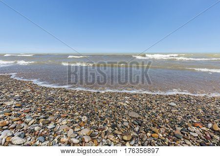 Lake Huron Beach Covered In Pebbles - Ontario, Canada