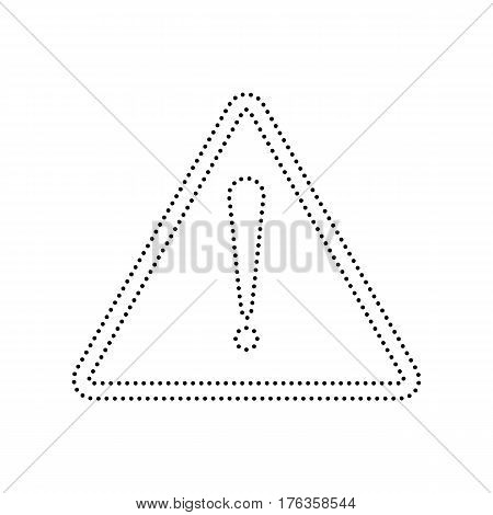 Exclamation danger sign. Flat style. Vector. Black dotted icon on white background. Isolated.