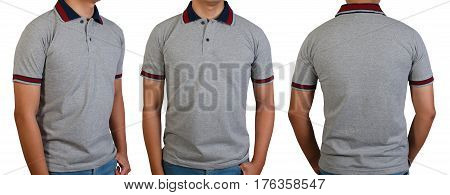 Plain gray t-shirt with contrast rib red and dark blue arm stripe on asian young man isolated on white front side and back side with copy space for text design and logo.