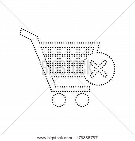 Shopping Cart with delete sign. Vector. Black dotted icon on white background. Isolated.