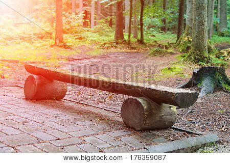 Wooden bench made of tree trunks in city park in sunlight