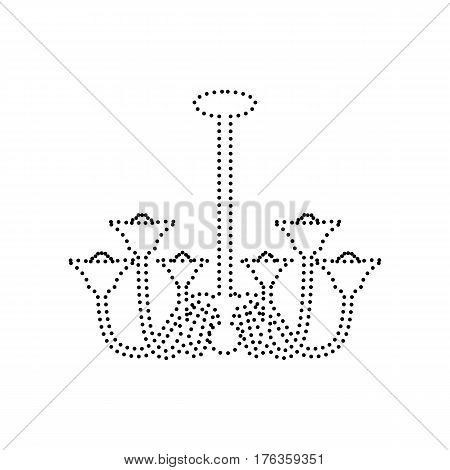 Chandelier simple sign. Vector. Black dotted icon on white background. Isolated.