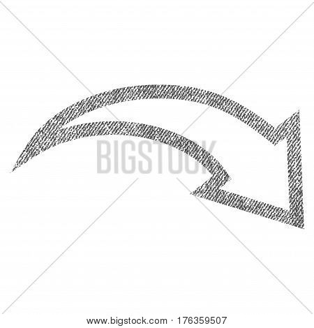Redo vector textured icon for overlay watermark stamps. Fabric gray vectorized texture. Symbol with unclean design. Rubber seal stamp with fiber textile structure.