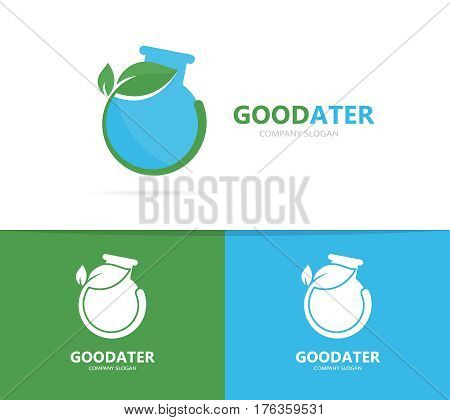 Vector of a flask and leaf logo combination. Laboratory and eco symbol or icon. Unique science and natural, organic logotype design template.