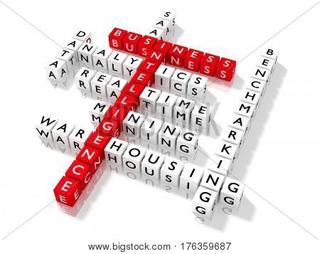 Crossword puzzle showing business intelligence keywords as dice on a white board bi concept 3D illustration
