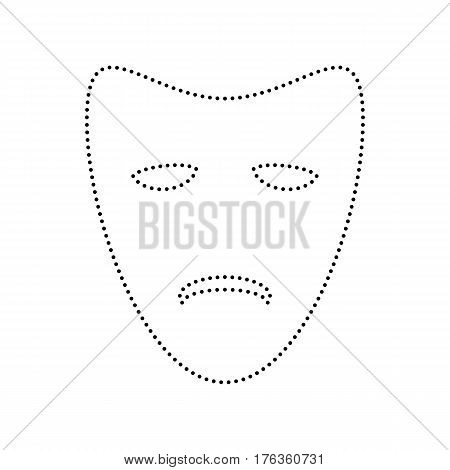 Tragedy theatrical masks. Vector. Black dotted icon on white background. Isolated.