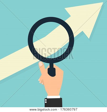 Businessman hand with magnifying glass for seeing tending arrow upwards. Vector illustration of stock trading business finance concept design.