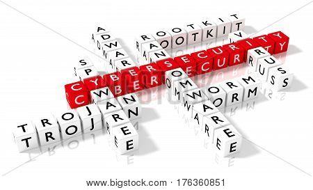 Crossword puzzle showing cybersecurity keywords as dice on a white board cybersecurity concept 3D illustration