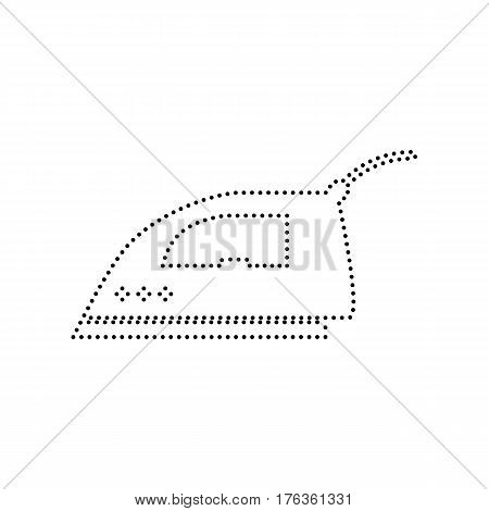 Smoothing Iron sign. Vector. Black dotted icon on white background. Isolated.