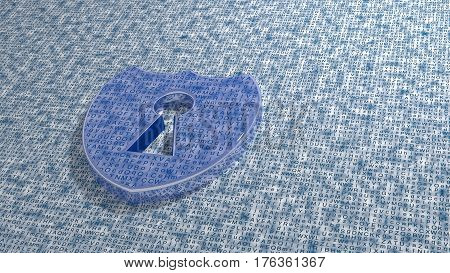 Blue shield made of reflecting metal on a random white grunge letter background 3D illustration cybersecurity concept