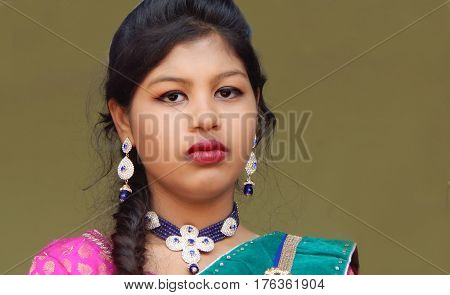 HYDERABAD,INDIA-MARCH 5:Portrait of Indian woman traditional Maharashtra Lavani dancer with makeup,dress,jewelry and hair style on March 5,2017 in Hyderabad,India