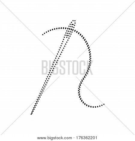 Needle with thread. Sewing needle, needle for sewing. Vector. Black dotted icon on white background. Isolated.