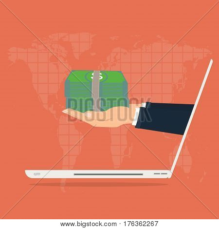 Business man hand with money from laptop computer for paying on world map background. Vector illustration business concept design.