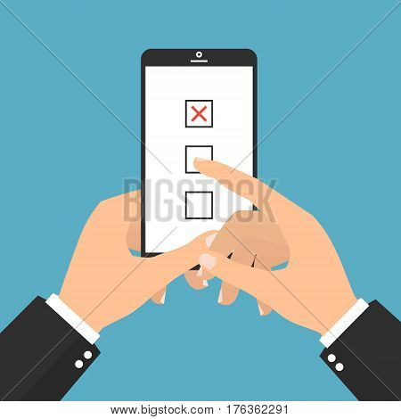 Hand hold smartphone with finger touch checkboxes on smartphone screen concept for web banners. Creative flat design vector illustration.