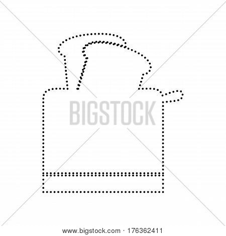 Toaster simple sign. Vector. Black dotted icon on white background. Isolated.