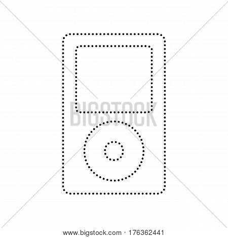 Portable music device. Vector. Black dotted icon on white background. Isolated.