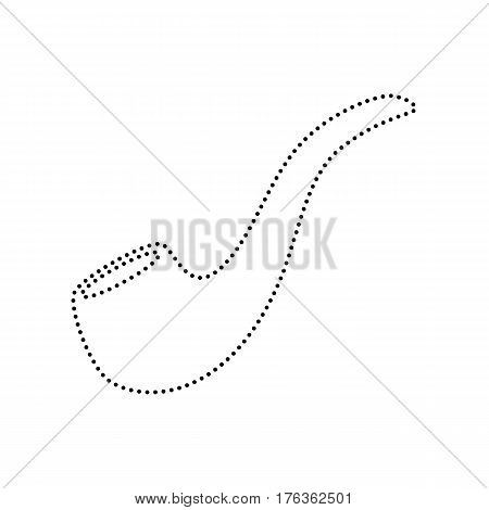 Smoke pipe sign. Vector. Black dotted icon on white background. Isolated.
