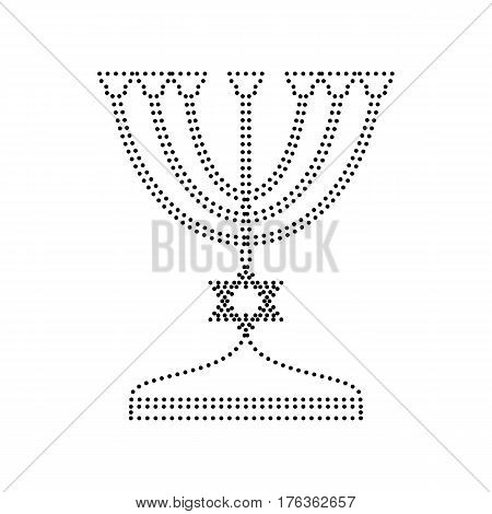 Jewish Menorah candlestick in black silhouette. Vector. Black dotted icon on white background. Isolated.