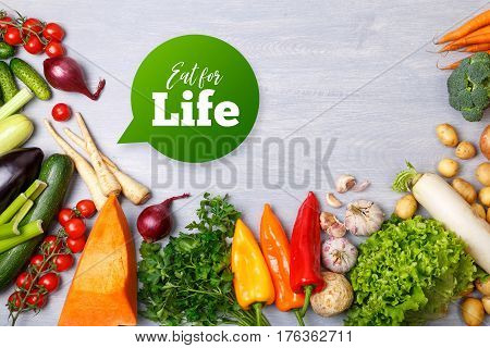 Vegetables. Potatoes, onion and garlic. Pepper, brocoli and green salad. Tomatoes, zucchini and radish, carrot. Organic vegetables.