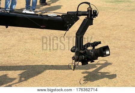 Closeup of a Video camera on Crane outdoors