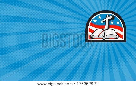 Business card showing Illustration of a bible and cross with American stars and stripes flag in background done in retro style.