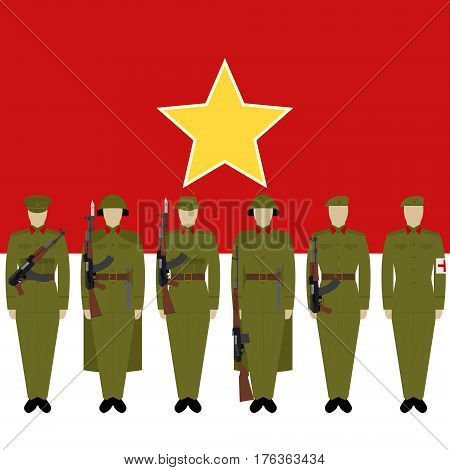 Soldiers of Vietnamese Army against the background of the flag of Vietnam. The illustration on a white background.