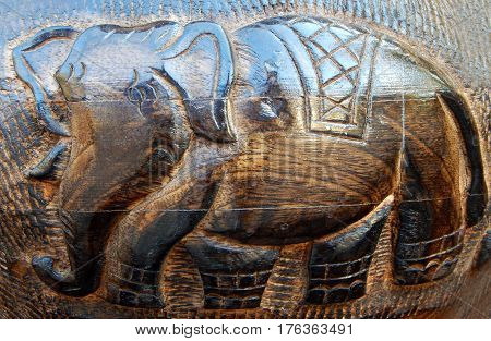 Elephant design Carving on wood for use as background