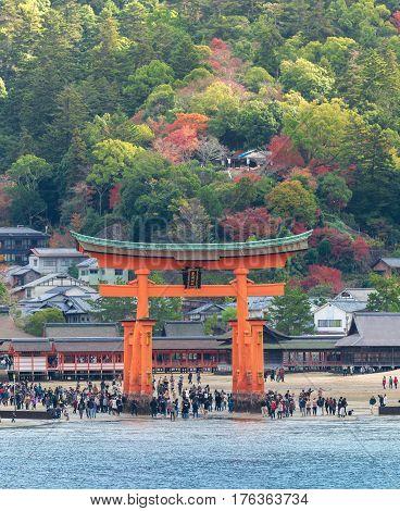 The Itsukushima floating Torii Gate off the coast of the island of Miyajima Hiroshima Japan.