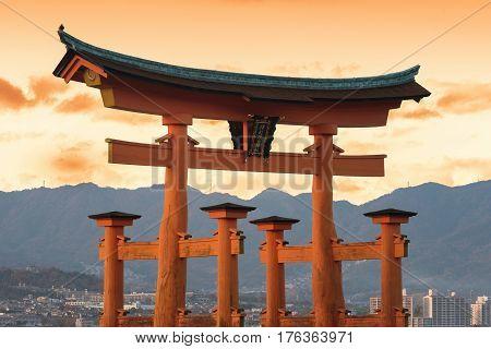 Miyajima, Hiroshima, Japan At The Famed Floating Torii Gate.