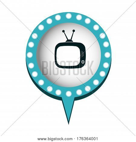 chat bubble with television inside, vector illustration design