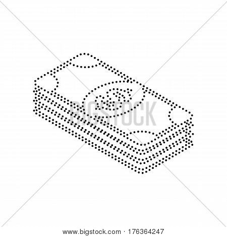 Bank Note dollar sign. Vector. Black dotted icon on white background. Isolated.