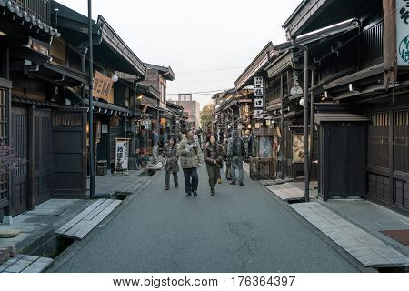 Unidentified People At Sannomachi Street, The Old Town Area Which Has Museums And Old Private Houses