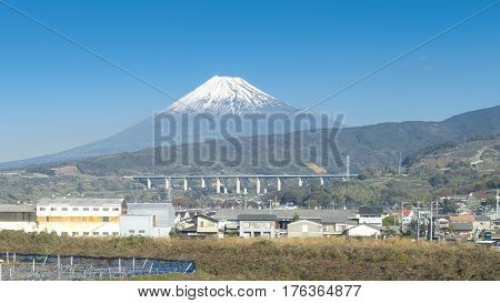Mt fuji with clear blue sky, japan