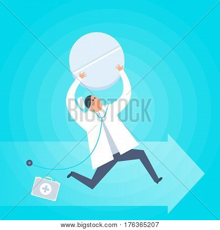 Doctor with a tablet runs to a patient. First-aid ambulance urgent care flat concept illustration. Medic with pill treats the disease. Medical healthcare treatment therapy vector design element.