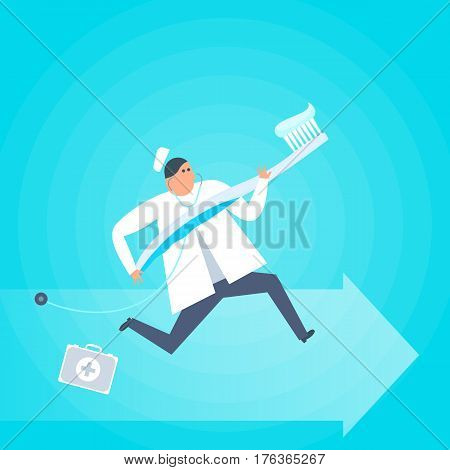 Doctor with a toothbrush runs to a patient. Dental hygiene health care flat concept illustration. Dentist and tooth brush with toothpaste. Medicine healthcare treatment vector design element.